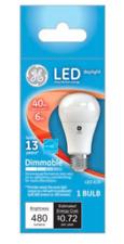 GE LED Daylight A19 Bulbs 6 Watt 40 Watt Replacement Dimmable 480 Lumens
