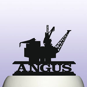 Personalised Acrylic Offshore Oil Rig Birthday Cake Topper Decoration