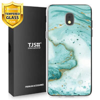 For Galaxy J7 Crown, Star, J7 V 2018 Case TJS Juno Green Marble+Tempered Glass