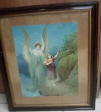 Vintage The Guardian Angel Religious Original Framed Print Rare