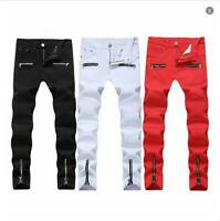Men's Jeans Slim fit Straight Trousers Fashion Zipper Pleated Washed Denim Pants