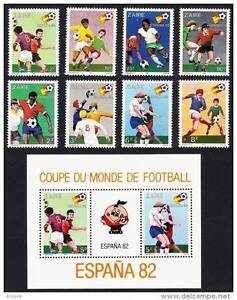 ZAIRE 1982 WORLD CUP FOOTBALL / SOCCER complete SET + S/s MNH (3ALL)