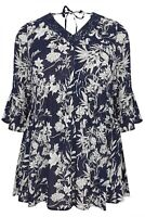 Yours ladies blouse top plus size 18 navy blue floral lace flared cuffs seconds