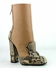 Gucci Beige Leather Ankle Boots w/Horsebit and Python 36 / US 6 363803 2670