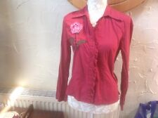👀*❤️❤️❤️Per Una🌺**@ M & S size 14 Red/Pink Mix applique Patterned blouse top🌺