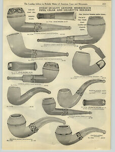 1908 PAPER AD 3 PG Meerschaum Smoking Pipe French Briar Silver Gold