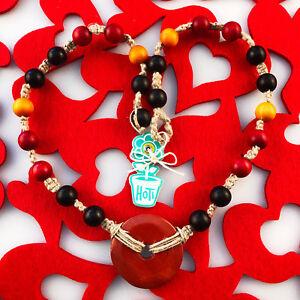 HOTI Hemp Handmade Red Jasper Donut Healing Blood Stone Wood Beaded Necklace NWT