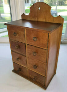 """Antique Vintage 8 Drawer Spice Cabinet Apothecary Solid Wood 16"""" x 10"""""""