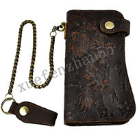 Vintage 3D Dragon Tiger Embossing Genuine Cowhide Leather Men Wallet With Chain