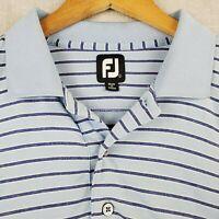 FOOTJOY Size XL Mens Golf Polo Shirt Heathered Blue on Blue Stripes Thin FJ