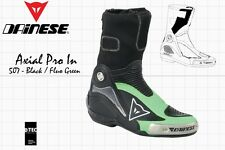 DAINESE AXIAL PRO IN MOTOGP RACE BOOTS BLACK FLUO GREEN US 8.5 - EU 41 - 270 mm