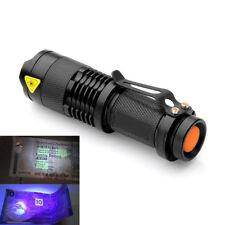 Torcia Luce Flash Led Zoomable Viola Lampada a Ultravioletti UV Outdoor Mini