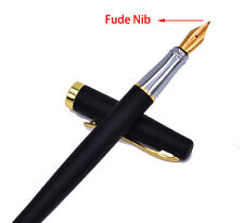 Duke 209 Steel Fude Fountain Pen Calligraphy Bent Nib Matte Black with Gold Clip