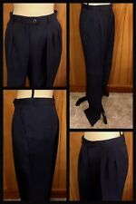 1970s Pants Pleated Linen Polyester ROTH LE COVER Navy Blue Lined Vintage Sz 12