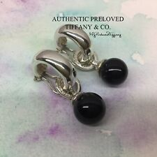 Excellent Retired Tiffany & Co. Fascination Bead Ball Onyx Silver Earclips