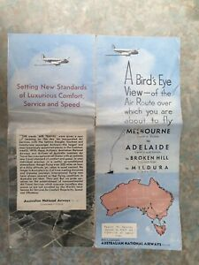 A Bird's Eye View AUSTRALIAN NATIONAL AIRLINES Air Route Folding Pamphet 1940's