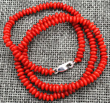 "New 2x4mm Natural red coral Abacus Gems Necklace 18"" Silver clasp"