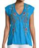 Johnny Was JWLA Vernazza Deep Scoop  Tee Women's Top  Embroidered  J15918