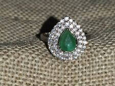 🎀3ct Natural Zambian Emerald & white zircon halo ring solid 925 Sterling silver