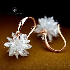 18k white rose gold gf made with SWAROVSKI crystal hook earrings flower blossom