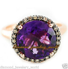 Diamond Amethyst Studded Silver Ring Jewelry Vintage Style 0.90cts Pave Rose Cut