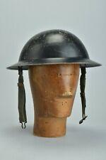 More details for british military ww2 steel battle bowler h3lmet with strap & original liner. dqj