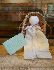 Handmade Cloth Heritage Doll in Basket EUC