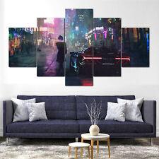 Cyberpunk Lamborghini Girl City Canvas Print Framed 5 Pcs Wall Art Poster Decor