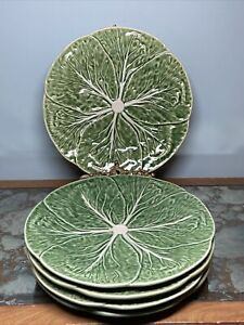 "SET of 5 Five Bordallo Pinheiro 10"" Dinner Plates Green Cabbage"