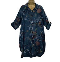 LINEN FLORAL SHIRT DRESS Teal Made In Italy Lagenlook Womens UK Size 14 16 18 20