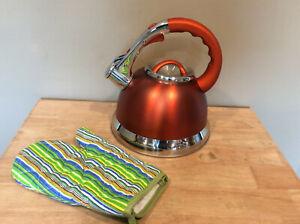 Kaisa Villa 3.5 L Tea Kettle Stovetop Stainless Steel Whistling Teakettle Orange