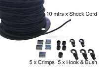 Shock Cord Kit 6mm - 10 Metres + 5 Hook & Bushes + 5 x Crimps !! FREE POST !!