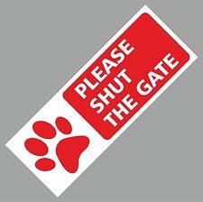 PLEASE SHUT THE GATE SIGN METAL DOG WEATHERPROOF DOOR GATE 75 X 200MM Red
