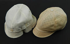 Pair (2) Vintage 1940's White Nylon Button Top & Straw Baby Bonnet Hats Small