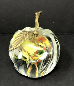 """3.5"""" Crystal Apple Paper Weight COLORFUL FLOWER Decorative Collectible BRASS"""