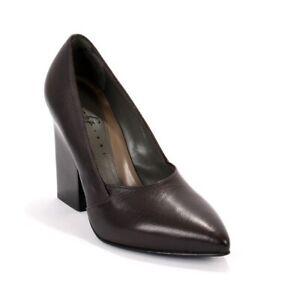 Gibellieri LP36 Eggplant Leather Geometric Heel Pumps 37.5 / US 7.5