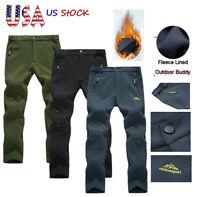 Men Winter Outdoor Hiking Pants Fleece Lined Warm Sport Trousers Waterproof Soft
