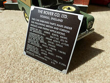 Land Rover Series 1 2 2a Bulkhead Patents Chassis Information Plate Plaque Panel