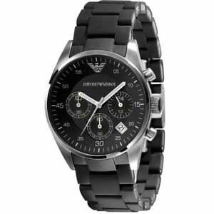 Emporio Armani AR5868 Black Sportivo Silicone Chronograph Genuine Watch