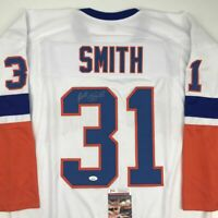 Autographed/Signed BILLY SMITH New York White Hockey Jersey JSA COA Auto