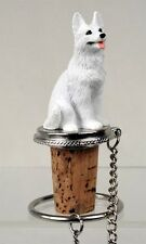 German Shepherd White Dog Hand Painted Resin Figurine Wine Bottle Stopper