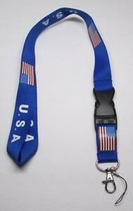 USA with Flag Quick Release LANYARD KEY CHAIN Ring Keychain ID Holder NEW