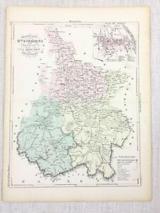 1881 Antique French Map Tarbes Haute Pyrenees France Hand Coloured Engraving