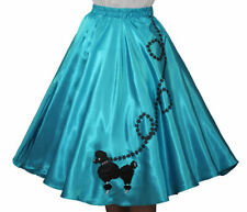Aqua Blue SATIN Poodle Skirt  Adult Size LARGE Waist 35- 41inches Length 25 inch