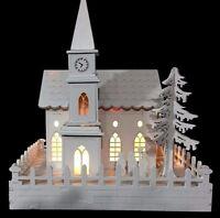 WHITE WOODEN PRE-LIT WARM WHITE LED CHURCH NATIVITY SCENE CHRISTMAS DECORATION