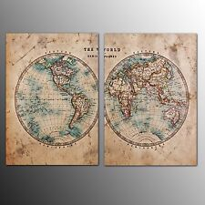 FRAMED Canvas Print Wall Art Home Decor Two Sides World Map Canvas Oil Painting