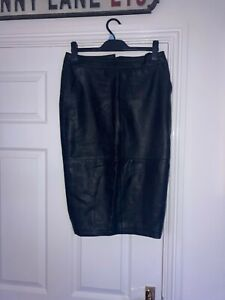 Real leather black pencil skirt