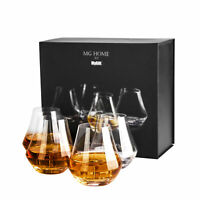 MyGift 12 oz Clear Crystal Whiskey Snifter Tumbler Glasses Gift Box, Set of 4