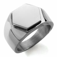Stainless Steel Silver or Black Plain Hexagon Crest Biker Style Mens Signet Ring