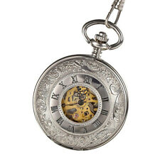 73e097ce4 Mens Mechanical Pocket Watch Double Hunter Swiss Antique Style Silver with  Chain
